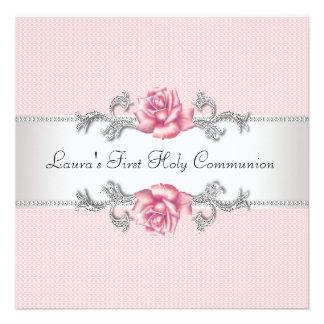 Primera comunión de los chicas color de rosa rosad invitación personalizada
