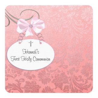 """Primera comunión de los chicas cruzados rosados de invitación 5.25"""" x 5.25"""""""