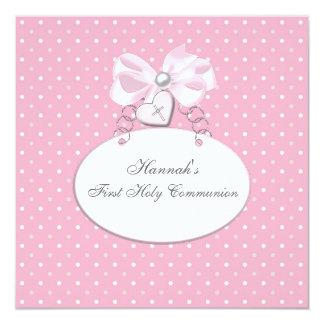 """Primera comunión de los chicas cruzados rosados invitación 5.25"""" x 5.25"""""""