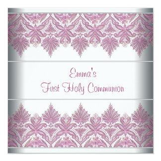 """Primera comunión de los chicas rosados del cordón invitación 5.25"""" x 5.25"""""""