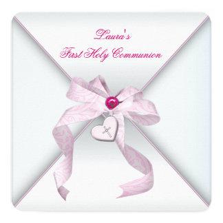 """Primera comunión del corazón de la cruz del rosa invitación 5.25"""" x 5.25"""""""
