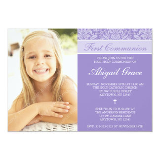 Primera comunión del damasco de la foto púrpura invitación 12,7 x 17,8 cm