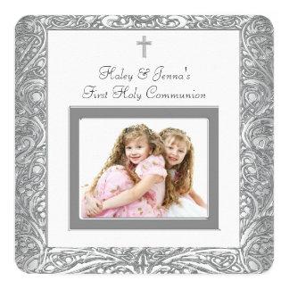 """Primera comunión del gemelo blanco elegante invitación 5.25"""" x 5.25"""""""