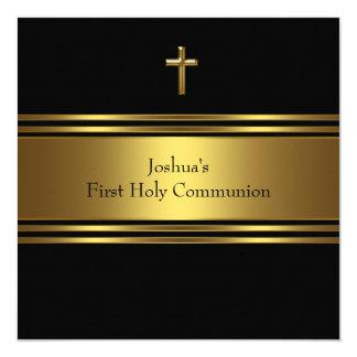 Primera comunión del oro de los muchachos negros invitación 13,3 cm x 13,3cm