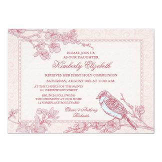 """Primera comunión del pájaro rosado de la flor de invitación 5"""" x 7"""""""