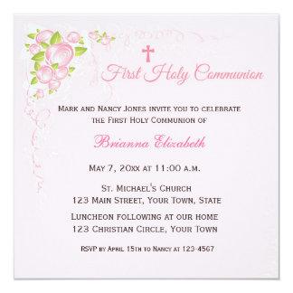 """Primera comunión del ramo color de rosa rosado invitación 5.25"""" x 5.25"""""""