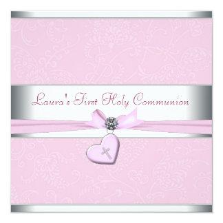 """Primera comunión del remolino del corazón de la invitación 5.25"""" x 5.25"""""""