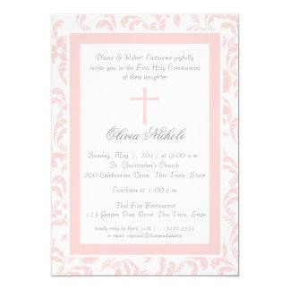 """Primera comunión floral rosada suave de Paisley Invitación 5"""" X 7"""""""