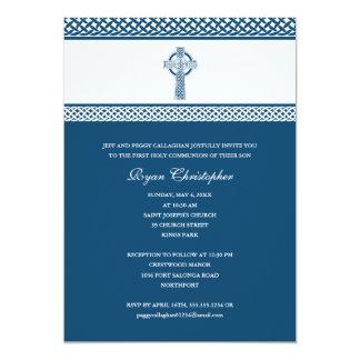 """Primera comunión santa azul de la cruz céltica invitación 5"""" x 7"""""""