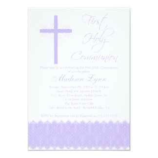 """Primera comunión santa de la cruz púrpura elegante invitación 5"""" x 7"""""""