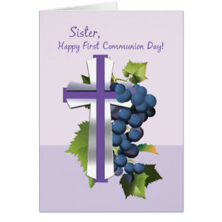 Primera comunión santa de la hermana púrpura y CR Tarjeta