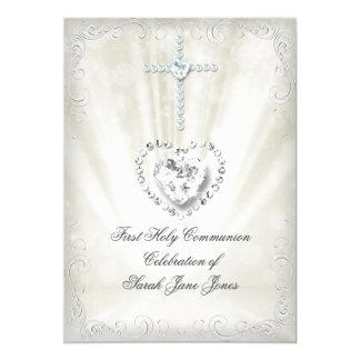 """Primera comunión santa divinamente 2 beige blancos invitación 5"""" x 7"""""""