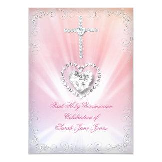 """Primera comunión santa divinamente 2 rosados invitación 5"""" x 7"""""""