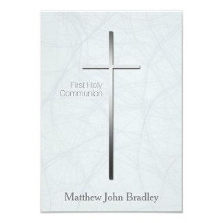"""Primera comunión santa en azul - personalizado invitación 3.5"""" x 5"""""""