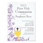 Primera comunión santa floral púrpura moderna anuncios personalizados
