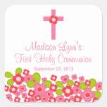 Primera comunión santa floral rosada cruzada dulce calcomanias cuadradas