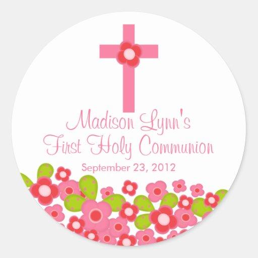 Primera comunión santa floral rosada cruzada dulce pegatina redonda