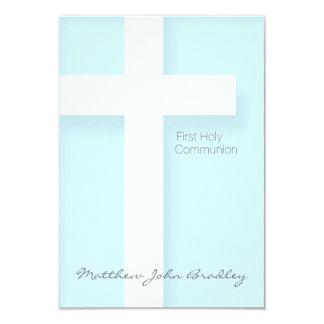 """Primera comunión santa moderna en azul invitación 3.5"""" x 5"""""""