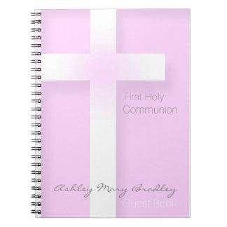Primera comunión santa moderna en libro de visitas libreta espiral