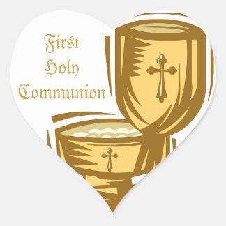 Primera comunión santa pegatina en forma de corazón