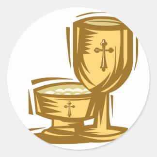 Primera comunión santa pegatina redonda