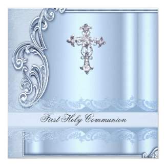 """Primera confirmación del azul de la comunión santa invitación 5.25"""" x 5.25"""""""