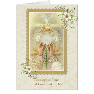 Primera cruz bendecida/cordero de la comunión tarjeta de felicitación