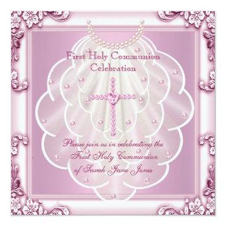 """Primera cruz del rosa del velo del rosa de la invitación 5.25"""" x 5.25"""""""
