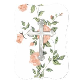 """Primera cruz """"grabada en relieve"""" de la comunión invitación 5"""" x 7"""""""