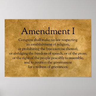 Primera Enmienda a la constitución de los E.E.U.U. Póster