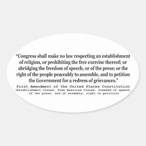 Primera Enmienda de la constitución de Estados Pegatina Ovalada