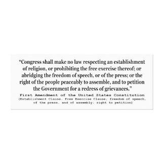 Primera Enmienda de la constitución de Estados Uni Lona Estirada Galerias