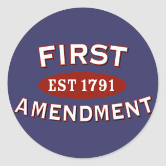 Primera Enmienda Pegatina Redonda