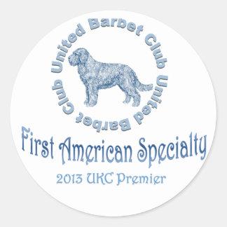 Primera especialidad americana del perro de aguas pegatina redonda