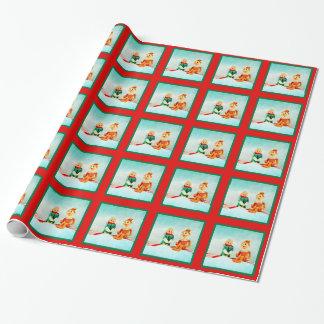 Primera fecha del duende en tela escocesa roja y papel de regalo