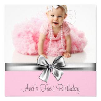 Primera fiesta de cumpleaños de la foto gris rosad comunicado
