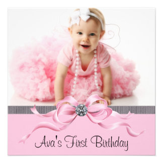 Primera fiesta de cumpleaños de la foto negra rosa anuncios