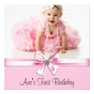Primera fiesta de cumpleaños de la foto negra rosa comunicado
