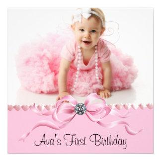 Primera fiesta de cumpleaños de la foto negra rosa anuncios personalizados
