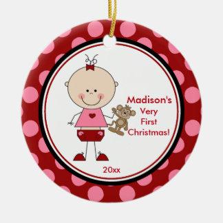 Primera figura chica del palillo del ornamento del adorno navideño redondo de cerámica