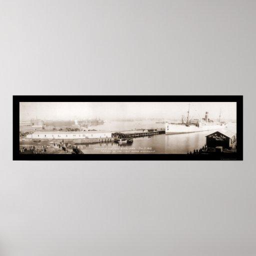 Primera foto 1913 del buque de vapor del océano póster