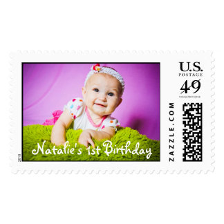 Primera foto del cumpleaños del bebé lista sellos postales