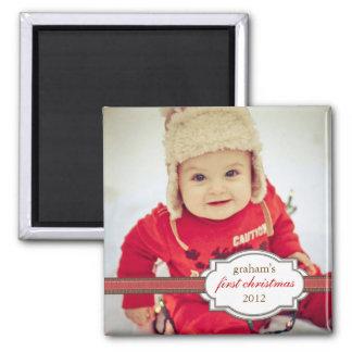 Primera foto del navidad del bebé con la falsa cin imán cuadrado