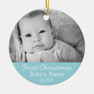 Primera foto del navidad del bebé - fondo del adorno redondo de cerámica
