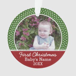 Primera foto del navidad del bebé - rojo y verde
