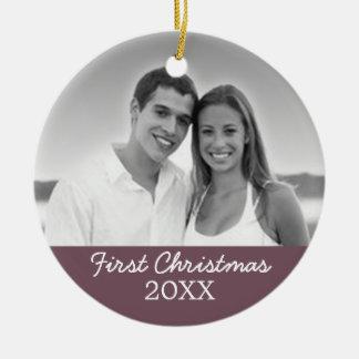 Primera foto del navidad - escoja echado a un lado adorno navideño redondo de cerámica