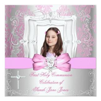 """Primera foto del rosa de la plata de la comunión invitación 5.25"""" x 5.25"""""""
