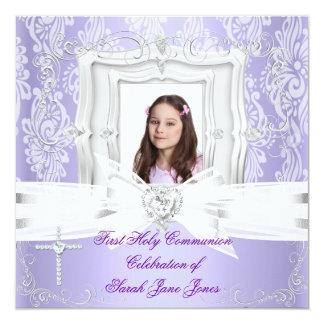 """Primera foto púrpura bonita de la comunión santa invitación 5.25"""" x 5.25"""""""