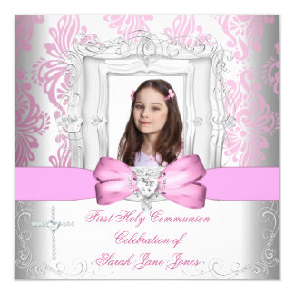 """Primera foto rosada blanca de la comunión santa invitación 5.25"""" x 5.25"""""""