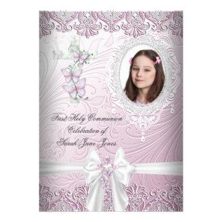 Primera foto rosada bonita de la comunión santa de invitacion personalizada